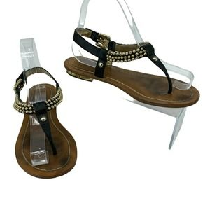 Coach Thong Sandals Studded Strap Ankle Wrap Flats
